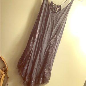 FREE PEOPLE Lace Tie Back Racerback Slip Dress